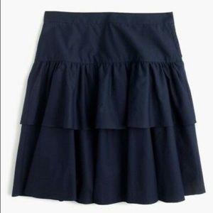 EUC navy cotton J. Crew tiered ruffle skirt sz 2